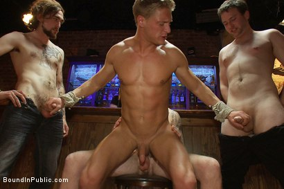 Photo number 9 from Blond Muscle Stud <br> Blindfolded, flogged, humiliated and fucked in  shot for Bound in Public on Kink.com. Featuring Gavin Waters and Christian Wilde in hardcore BDSM & Fetish porn.