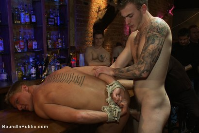Photo number 13 from Blond Muscle Stud <br> Blindfolded, flogged, humiliated and fucked in  shot for Bound in Public on Kink.com. Featuring Gavin Waters and Christian Wilde in hardcore BDSM & Fetish porn.