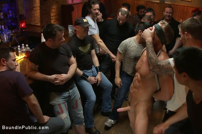 Photo number 1 from Blond Muscle Stud <br> Blindfolded, flogged, humiliated and fucked in  shot for Bound in Public on Kink.com. Featuring Gavin Waters and Christian Wilde in hardcore BDSM & Fetish porn.
