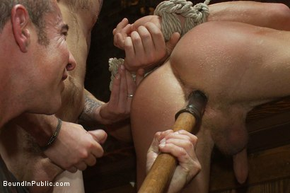 Photo number 12 from Blond Muscle Stud <br> Blindfolded, flogged, humiliated and fucked in  shot for Bound in Public on Kink.com. Featuring Gavin Waters and Christian Wilde in hardcore BDSM & Fetish porn.