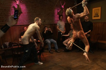 Photo number 3 from Blond Muscle Stud <br> Blindfolded, flogged, humiliated and fucked in  shot for Bound in Public on Kink.com. Featuring Gavin Waters and Christian Wilde in hardcore BDSM & Fetish porn.