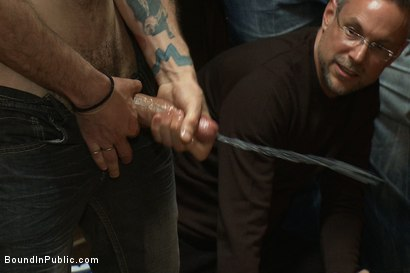 Photo number 4 from Blond Muscle Stud <br> Blindfolded, flogged, humiliated and fucked in  shot for Bound in Public on Kink.com. Featuring Gavin Waters and Christian Wilde in hardcore BDSM & Fetish porn.