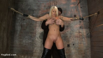 Photo number 4 from California Blond has her massive tits severly bound   We rip Orgasm after Orgasm out of her hot bod shot for Hogtied on Kink.com. Featuring Candy Manson in hardcore BDSM & Fetish porn.