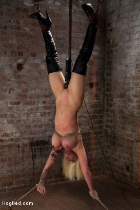 Photo number 14 from Huge tits bound and clamped, pussy impaled & a vib locked on her clit. Skull fucked & made to cum! shot for Hogtied on Kink.com. Featuring Candy Manson in hardcore BDSM & Fetish porn.