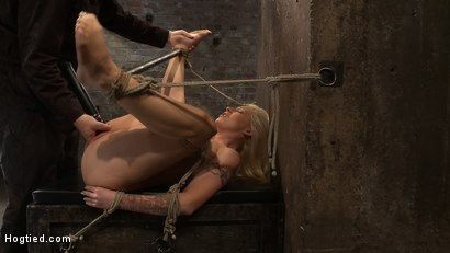 Photo number 9 from California blond with huge tits has them bound to her knees & spread<br>Made to squirt & scream! shot for Hogtied on Kink.com. Featuring Candy Manson in hardcore BDSM & Fetish porn.