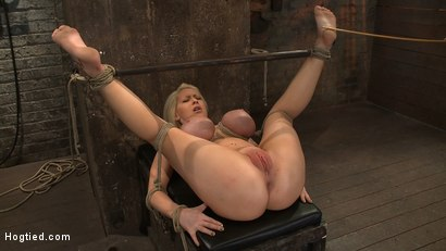 California blond with huge tits has them bound to her knees & spread Made to squirt & scream!