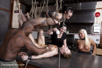 Photo number 3 from Kitchen Service shot for The Upper Floor on Kink.com. Featuring Sparky Sin Claire, Kait Snow, Jessie Cox and Jack Hammer in hardcore BDSM & Fetish porn.