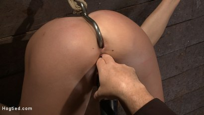 Photo number 5 from Ass hooked, caned & made to cum so much she begs for mercy<br> Humilated and abused, so helpless! shot for Hogtied on Kink.com. Featuring Chanel Preston in hardcore BDSM & Fetish porn.