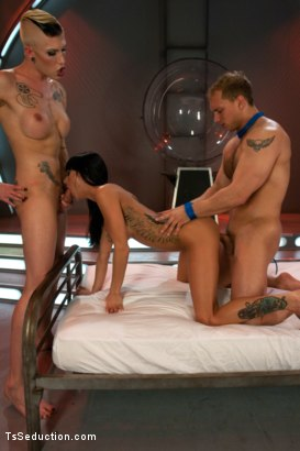 Photo number 12 from Primary Evolution: <br> The Quest for Human shot for TS Seduction on Kink.com. Featuring Danni Daniels, Gia DiMarco and John Magnum in hardcore BDSM & Fetish porn.