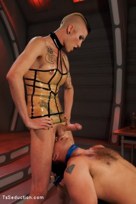 Photo number 4 from Primary Evolution: <br> The Quest for Human shot for TS Seduction on Kink.com. Featuring Danni Daniels, Gia DiMarco and John Magnum in hardcore BDSM & Fetish porn.