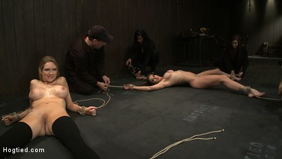 Photo number 2 from ORGASMAGEDDON: Part 1/4<br>The beginning of 2 girls who will almost literally be orgasmed to death. shot for Hogtied on Kink.com. Featuring Felony, Isis Love, Rain DeGrey and Princess Donna Dolore in hardcore BDSM & Fetish porn.
