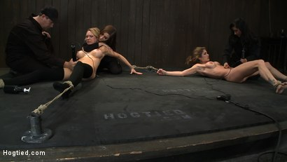 Photo number 11 from ORGASMAGEDDON: Part 1/4<br>The beginning of 2 girls who will almost literally be orgasmed to death. shot for Hogtied on Kink.com. Featuring Felony, Isis Love, Rain DeGrey and Princess Donna Dolore in hardcore BDSM & Fetish porn.