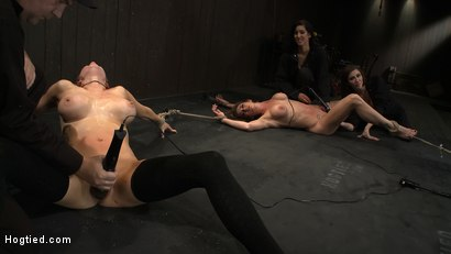 Photo number 12 from ORGASMAGEDDON: Part 1/4<br>The beginning of 2 girls who will almost literally be orgasmed to death. shot for Hogtied on Kink.com. Featuring Felony, Isis Love, Rain DeGrey and Princess Donna Dolore in hardcore BDSM & Fetish porn.