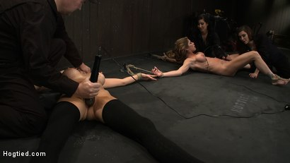 Photo number 14 from ORGASMAGEDDON: Part 1/4<br>The beginning of 2 girls who will almost literally be orgasmed to death. shot for Hogtied on Kink.com. Featuring Felony, Isis Love, Rain DeGrey and Princess Donna Dolore in hardcore BDSM & Fetish porn.