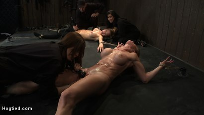 Photo number 1 from ORGASMAGEDDON: Part 2/4<br>15 minutes in and massive orgasm overload, fisting, squirting, cumming. shot for Hogtied on Kink.com. Featuring Felony, Isis Love, Rain DeGrey and Princess Donna Dolore in hardcore BDSM & Fetish porn.