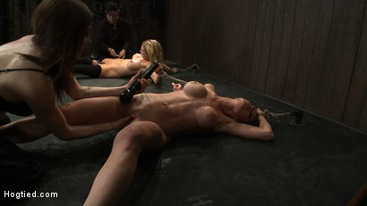 Photo number 14 from ORGASMAGEDDON: Part 2/4<br>15 minutes in and massive orgasm overload, fisting, squirting, cumming. shot for Hogtied on Kink.com. Featuring Felony, Isis Love, Rain DeGrey and Princess Donna Dolore in hardcore BDSM & Fetish porn.