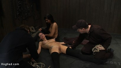 Photo number 11 from ORGASMAGEDDON Part 4/4<br>We orgasmed them both to the breaking point. Beyond the edge into insanity shot for Hogtied on Kink.com. Featuring Felony, Isis Love, Rain DeGrey and Princess Donna Dolore in hardcore BDSM & Fetish porn.