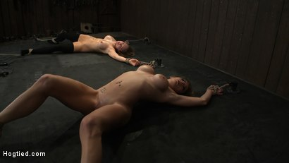 Photo number 6 from ORGASMAGEDDON Part 4/4<br>We orgasmed them both to the breaking point. Beyond the edge into insanity shot for Hogtied on Kink.com. Featuring Felony, Isis Love, Rain DeGrey and Princess Donna Dolore in hardcore BDSM & Fetish porn.