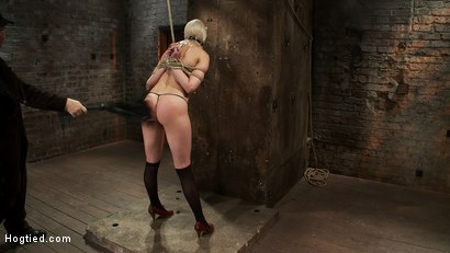 Photo number 8 from Local amateur girl in her first hardcore bondage shoot  Reverse Prayer, flogged her perfect ass. shot for hogtied on Kink.com. Featuring Natasha Lyn in hardcore BDSM & Fetish porn.