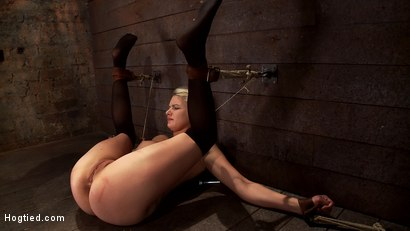 Photo number 10 from Shy sexy blond girl is trapped, bound, humiliated<br>Long legs spread wide, made to cum like a whore shot for Hogtied on Kink.com. Featuring Natasha Lyn in hardcore BDSM & Fetish porn.