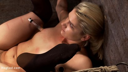 Photo number 6 from Shy sexy blond girl is trapped, bound, humiliated<br>Long legs spread wide, made to cum like a whore shot for Hogtied on Kink.com. Featuring Natasha Lyn in hardcore BDSM & Fetish porn.
