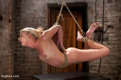Sexy Blond with amazing hard fit body, suffers Category 5 Suspension First hardcore bondage shoot