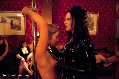 Photo number 4 from Mardi Gras Party shot for The Upper Floor on Kink.com. Featuring Jessie Cox, Lilla Katt, Nicki Blue, Sophie Monroe and Bella Rossi in hardcore BDSM & Fetish porn.