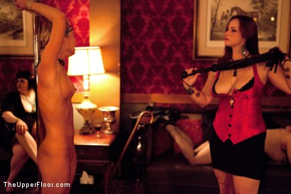 Photo number 5 from Mardi Gras Party shot for The Upper Floor on Kink.com. Featuring Jessie Cox, Lilla Katt, Nicki Blue, Sophie Monroe and Bella Rossi in hardcore BDSM & Fetish porn.