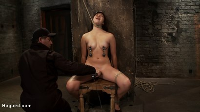 Photo number 8 from 18yr old is bound to the chair<br>Neck rope limits her breathing, this makes her cum hard and often. shot for Hogtied on Kink.com. Featuring Kiki Koi in hardcore BDSM & Fetish porn.