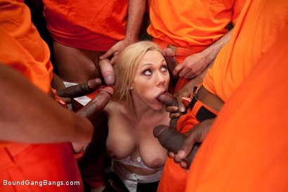 Photo number 5 from Sexy Blonde Prison Warden with Big Tits gets Gangbanged by Horny Inmates shot for Bound Gang Bangs on Kink.com. Featuring Samantha Sin in hardcore BDSM & Fetish porn.