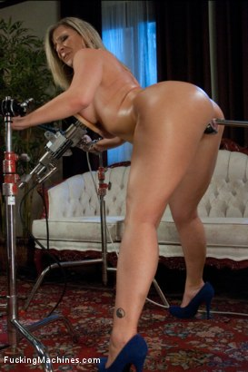 Photo number 4 from Home Alone MILF: <br> Double Vag Machine Fucking  shot for Fucking Machines on Kink.com. Featuring Sara Jay in hardcore BDSM & Fetish porn.