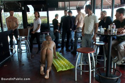 Photo number 9 from Two hairy sluts get abused in a bar full of horny strangers shot for Bound in Public on Kink.com. Featuring Christian Wilde, Kyle Derring and Adam Port in hardcore BDSM & Fetish porn.