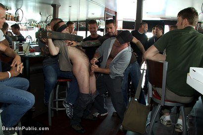 Photo number 1 from Two hairy sluts get abused in a bar full of horny strangers shot for Bound in Public on Kink.com. Featuring Christian Wilde, Kyle Derring and Adam Port in hardcore BDSM & Fetish porn.