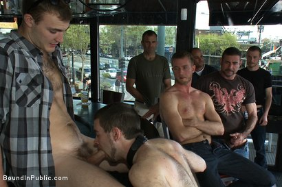Photo number 6 from Two hairy sluts get abused in a bar full of horny strangers shot for boundinpublic on Kink.com. Featuring Christian Wilde, Kyle Derring and Adam Port in hardcore BDSM & Fetish porn.