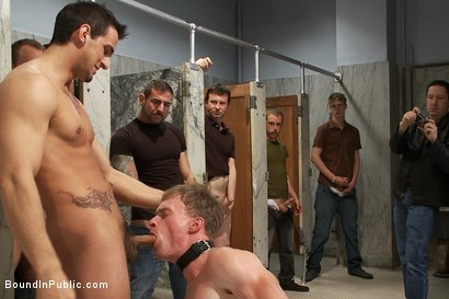 Photo number 5 from Filthy slut services a cruisy bathroom full of horny dudes shot for Bound in Public on Kink.com. Featuring Phenix Saint and Ethan Hunter in hardcore BDSM & Fetish porn.