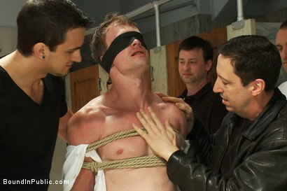 Photo number 1 from Filthy slut services a cruisy bathroom full of horny dudes shot for Bound in Public on Kink.com. Featuring Phenix Saint and Ethan Hunter in hardcore BDSM & Fetish porn.
