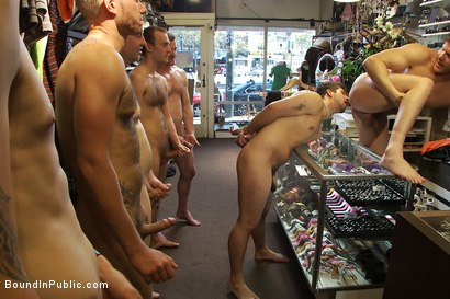 Photo number 9 from Cocky stud gets gangbanged in a clothing store shot for Bound in Public on Kink.com. Featuring Parker London and Jake Austin in hardcore BDSM & Fetish porn.
