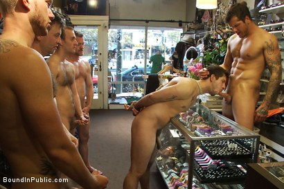 Photo number 13 from Cocky stud gets gangbanged in a clothing store shot for Bound in Public on Kink.com. Featuring Parker London and Jake Austin in hardcore BDSM & Fetish porn.