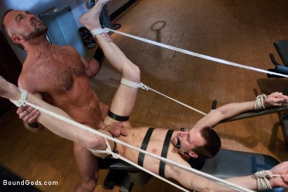 Photo number 8 from Bondage Workout shot for Bound Gods on Kink.com. Featuring Josh West and Kyle Quinn in hardcore BDSM & Fetish porn.