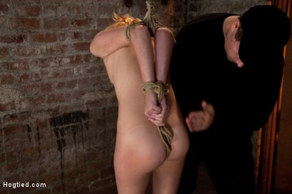 """Photo number 4 from March's live show: Part 1 of 3  Tiny Emma is bound spread and """"warmed"""" up for what is to cum. shot for Hogtied on Kink.com. Featuring Emma Haize and Isis Love in hardcore BDSM & Fetish porn."""