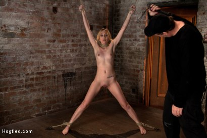 """Photo number 6 from March's live show: Part 1 of 3  Tiny Emma is bound spread and """"warmed"""" up for what is to cum. shot for Hogtied on Kink.com. Featuring Emma Haize and Isis Love in hardcore BDSM & Fetish porn."""
