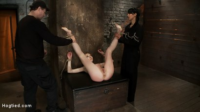 Photo number 1 from March's Live Show 2/3<br>Tickled, flogged, foot caned, banged, squirting & vibrated to brutal orgasm shot for Hogtied on Kink.com. Featuring Emma Haize and Isis Love in hardcore BDSM & Fetish porn.
