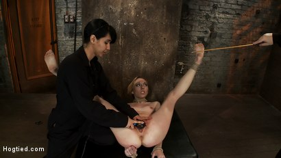 Photo number 13 from March's Live Show 2/3<br>Tickled, flogged, foot caned, banged, squirting & vibrated to brutal orgasm shot for Hogtied on Kink.com. Featuring Emma Haize and Isis Love in hardcore BDSM & Fetish porn.