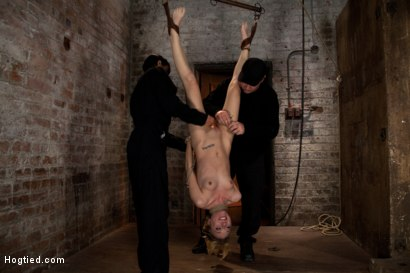 Photo number 1 from March's Live Show 3/3:<br>Zippered, severely flogged, 2 huge bowling balls hung off her pussy. Sexy! shot for Hogtied on Kink.com. Featuring Emma Haize and Isis Love in hardcore BDSM & Fetish porn.