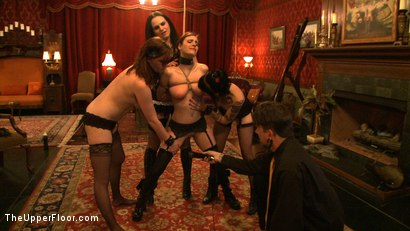 Photo number 14 from Service Day: Promotion shot for The Upper Floor on Kink.com. Featuring Iona Grace, Sparky Sin Claire and Lilla Katt in hardcore BDSM & Fetish porn.