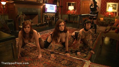 Photo number 16 from Service Day: Promotion shot for The Upper Floor on Kink.com. Featuring Iona Grace, Sparky Sin Claire and Lilla Katt in hardcore BDSM & Fetish porn.