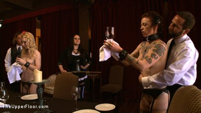 Photo number 17 from Service Day: Table Settings shot for The Upper Floor on Kink.com. Featuring Maestro, Iona Grace, Sparky Sin Claire, Lilla Katt, Nicki Blue, Maestro Stefanos and Sophie Monroe in hardcore BDSM & Fetish porn.