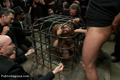 Photo number 3 from Hot Local Amateur Locked in a Cage and Fed to a Hungry Crowd  shot for Public Disgrace on Kink.com. Featuring Mark Davis, Audrey Rose and Princess Donna Dolore in hardcore BDSM & Fetish porn.