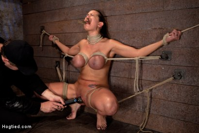 Photo number 9 from Trina gets her huge tits bound<br>Her neck stretched her face hole fucked & orgasms like a whore. shot for Hogtied on Kink.com. Featuring Trina Michaels in hardcore BDSM & Fetish porn.