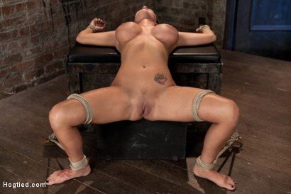 Photo number 1 from Sexy tan oiled blond, is slowly dragged into the darkness by a neck rope<br>Made to cum over & over. shot for Hogtied on Kink.com. Featuring Trina Michaels in hardcore BDSM & Fetish porn.
